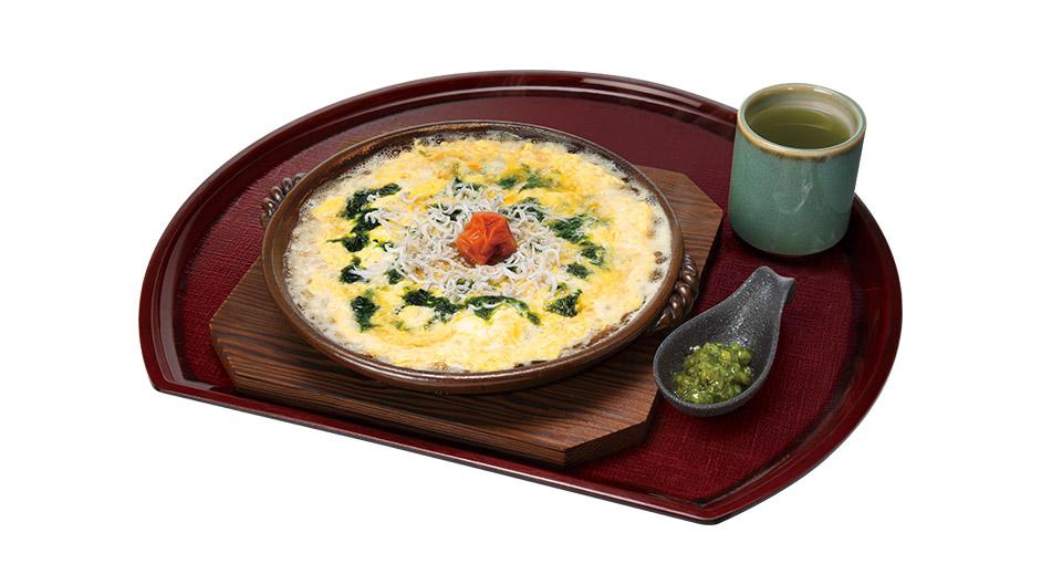 写真:梅しらす雑炊(刻みわさび、玄米緑茶つき)