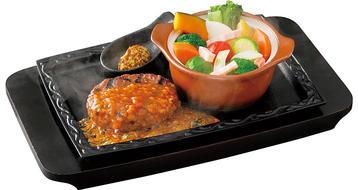 写真:ハンバーグとポトフ風温野菜セット(ソースなし、パン・ライスなし)